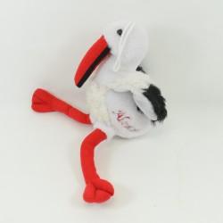 Peluche souvenir cigogne Alsace blanc rouge noir 45 cm