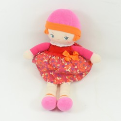 Doll rag COROLLE dress floral pink hat 2012 37 cm