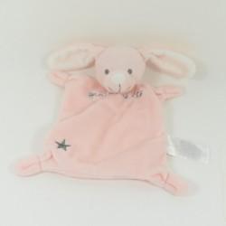 Doudou flat rabbit GRAIN OF BLÉ pink grey star 20 cm
