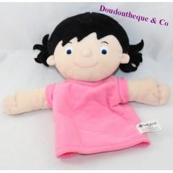 Doudou puppet girl LADYBIRD brunette doll duvet 26 cm