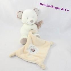 Doudou handkerchief bear POMMETTE My heart beige 20 cm