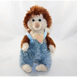 Peluche Bussi hedgehog TRUDI blue overalls margueritte heart necklace 28 cm