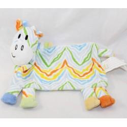 Doudou flat zebra BRIOCHE LA HALLE zig zag multicolored 23 cm
