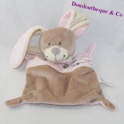 Doudou flat rabbit NICOTOY pink brown cross 24 cm