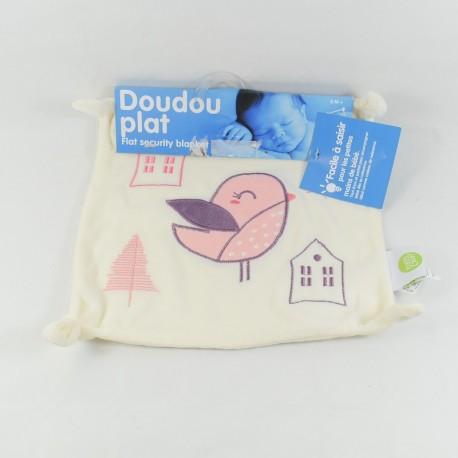 Doudou flat bird BABY CALIN rose house fir knots 23 cm