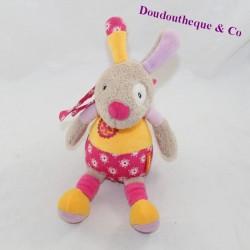 Doudou musical rabbit BABYSUN beige pink flowers 21 cm
