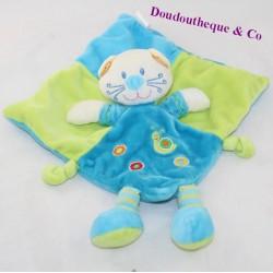 Doudou flat cat NICOTOY blue green snail 20 cm