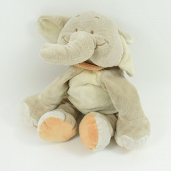 Doudou elephant BENGY orange yellow scarf 24 cm