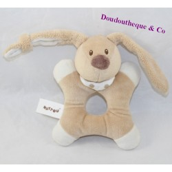 RABBIT rabbit rattle NATTOU Cappuccino brown white bell 16 cm