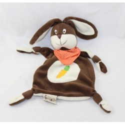Doudou flat rabbit LES PETITES MARIE brown white bandana orange carrot 26 cm
