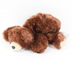 Peluche bear CREATIONS DANI chiné red brown elongated 22 cm