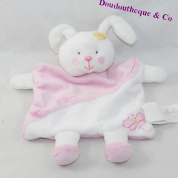 Doudou flat rabbit KIMBALOO square white pink butterfly 23 cm
