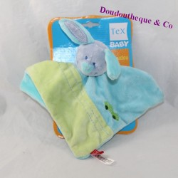 Doudou flat rabbit TEX BABY blue green 24 cm