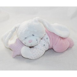 Musical dolly rabbit TEX BABY reclining star pink white 26 cm