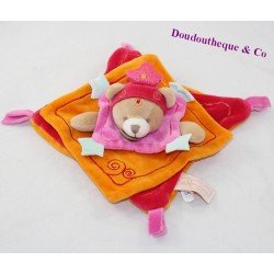 Doudou flat bear DOUDOU AND COMPAGNIE Indidou pink Indian orange 19 cm
