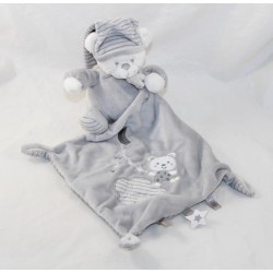 Doudou handkerchief bear MAX - SAX Carrefour white grey Moon stripes 36 cm