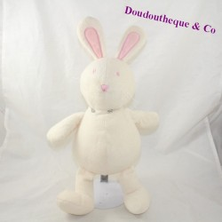 Red pink white rabbit with a bun 30 cm