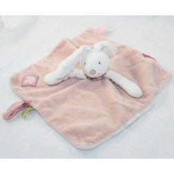 Doudou flat rabbit MOULIN ROTY Blueberry and Capucine pink white rectangle 27 cm