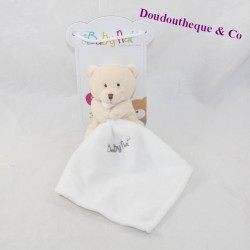 Doudou bear handkerchief BABY NAT' beige white handkerchief BN3520 10 cm