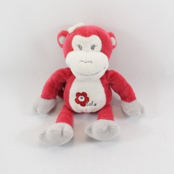 Doudou monkey ARTHUR AND LOLA BEBISOL burgundy flower 25 cm