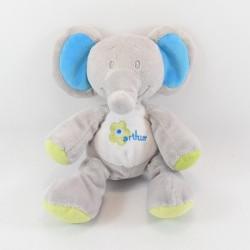Doudou elephant ARTHUR AND LOLA Bebisol pink grey 18 cm