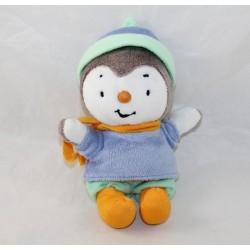 Peluche T'choupi JEMINI dress winter cap orange scarf 18 cm