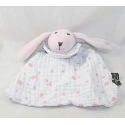 Doudou flat rabbit ATMOSPHERA KIDS fabric white pink peas 23 cm