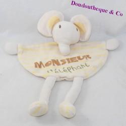 Doudou plat éléphant CAREL Monsieur l'éléphant jaune beige 28 cm