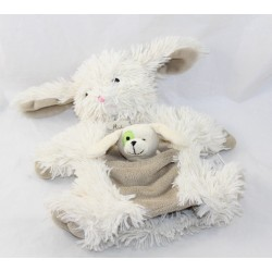 Doudou puppet rabbit HISTORY OF OURS dog puppet with beige finger