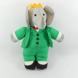 Cuddly elephant Babar grey green parachute canvas 38 cm