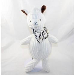 Peluche lama Muchachos Les Déglingos blanc marron bandana Déglingos 34 cm