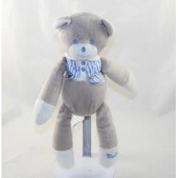 Doudou Musti bear MUSTELA blue grey striped shirt 27 cm