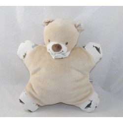 Doudou semi flat bear BOUT'CHOU Monoprix beige animals bell