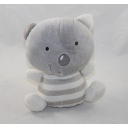 Doudou Miaou cat ORCHESTRA gray striped white cocard 18 cm