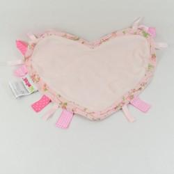 Doudou mouchoir coeur MINENE rose petites fleurs 25 cm