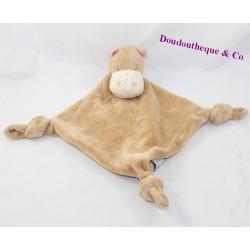 Doudou plat hippopotame CARREBLANC Carré Blanc beige noeud 34 cm