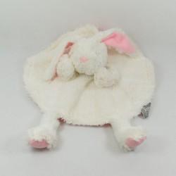 Doudou plat lapin TOM & ZOÉ rond marionnette rose blanc 30 cm