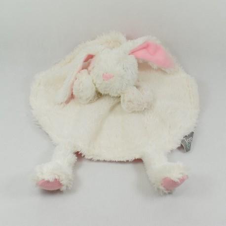 Doudou flat bear TOM - ZOÉ round white grey puppet 30 cm