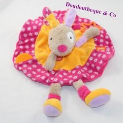 Doudou flat rabbit BABYSUN round pink orange 31 cm