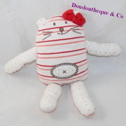 Doudou reversible cat LA HALLE double-sided double-sided red peas 23 cm