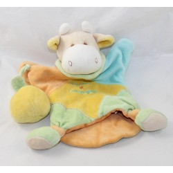 Doudou puppet cow DOUDOU AND COMPAGNIE fruit yellow orange blue 26 cm
