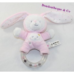 Bear rattle disguised as rabbit MAX - SAX pink cloud bell 18 cm