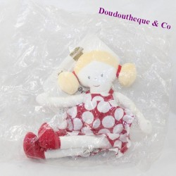 Doudou blonde doll BERLINGOT dress red white polka dots 26 cm