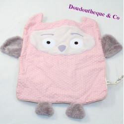 Doudou flat nice DPAM The same to the same pink grey owl 28 cm