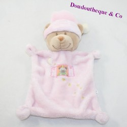 Doudou flat bear NICOTOY pink window bear