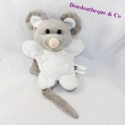 Doudou puppet mouse AU SYCOMORE white grey