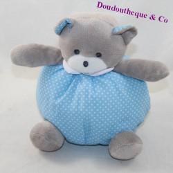 Doudou ball bear MUSTI MUSTELA blue blue white peas 20 cm