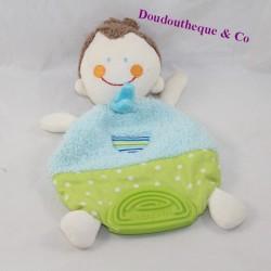 Doudou flat boy BABYSUN doll brown ring blue teeth 24 cm