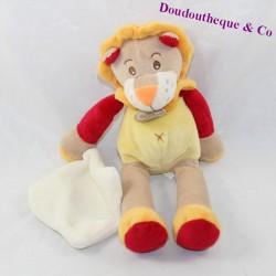 Doudou lion handkerchief BABY NAT red orange 25 cm
