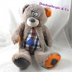 MOZAIC metalding bear with grey patched tiles 41 cm